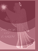 Gold Angel Card Posters - Angle Peace Card Poster by Debra     Vatalaro
