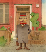 Corner Drawings Framed Prints - Angleman01 Framed Print by Kestutis Kasparavicius