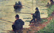 Fishing Rods Metal Prints - Anglers Metal Print by Georges Pierre Seurat