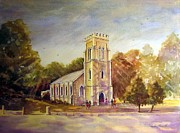 Victoria Paintings - Anglican Church Beechworth  victoria by Audrey Russill