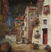 Red Flowers Painting Metal Prints - Angolo Buio Metal Print by Guido Borelli