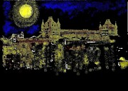 Castle Mixed Media Originals - Angou at Night by Roman Krimker