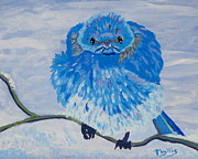 Bluebird Painting Originals - Angry Little Bluebird by Phyllis Kaltenbach