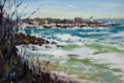 Rockport Paintings - Angry march Surf at Straitsmouth Light by Chris Coyne