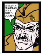 Boot Camp Digital Art Posters - Angry Navy Chief Democracy Poster by Suzanne  Frie
