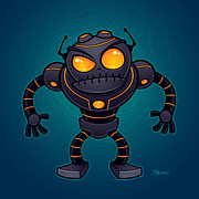 Cartoon Art - Angry Robot by John Schwegel