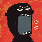 Painted Image Posters - Angry Shout Man Illustration Poster by Don Bishop