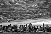 Shower Posters - Angry Skies Over NYC Poster by Susan Candelario