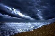 Cecil Fuselier Framed Prints - Angry Sky Peaceful Sea Framed Print by Cecil Fuselier