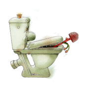 Toilet Prints - Angry WC Print by Kestutis Kasparavicius