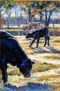 Barn Yard Pastels Prints - Angus Calves out with Dad Print by Denise Horne-Kaplan