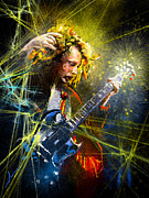 Heavy Mixed Media Framed Prints - Angus Young Framed Print by Miki De Goodaboom