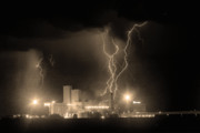 Lightning Weather Stock Images Posters - Anheuser-Busch On Strikes Black and White Sepia Image Poster by James Bo Insogna