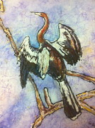 Anhinga Paintings - Anhinga Dries His Wings by Gloria Avner