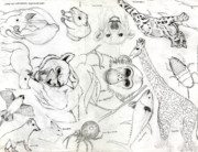 Arctic Drawings Originals - Animal Collage by Gerard  Schneider Jr