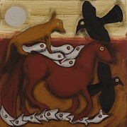 Red Horse Paintings - Animal  Dream by Sophy White