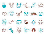 Footprint Digital Art - Animal Icon Set by Eastnine Inc.
