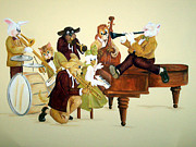 Slide Painting Prints - Animal Jazz Band Print by Deborah Smith