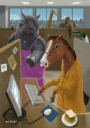 Cartoon Animals Posters - Animal Office Poster by Martin Davey