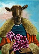 Imaginary Art Framed Prints - animal portrait - Flora Shepard Framed Print by Linda Apple