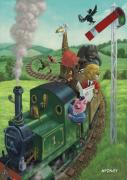 Cartoon Animals Posters - Animal Train Journey Poster by Martin Davey