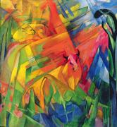 Expressionist Paintings - Animals in a Landscape by Franz Marc