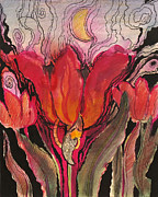 Surrealism Landscape Drawings Prints - Animals in the tulip Print by Valentina Plishchina