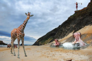 Giraffe Digital Art Originals - Animals on the beach by Jens Stolt