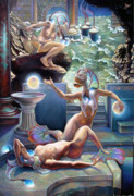 Mermaids Paintings - Animus Dimensio Temporum by Patrick Anthony Pierson