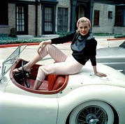 Pink Lipstick Framed Prints - Anita Ekberg, On Her Jaguar, Late 1950s Framed Print by Everett