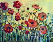 Yellow Green Posters - Anitas Poppies Poster by Jennifer Lommers