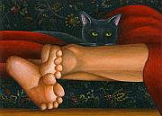 Black Cat Art - Ankle View with Cat by Carol Wilson