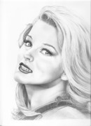 Famous People Drawings - Ann Margret by Murphy Elliott