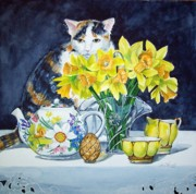 Teapot Paintings - Annabelle Behind Flowers by Jane Loveall