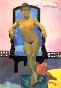 Chair Painting Metal Prints - Annah the Javanese Metal Print by Paul Gauguin