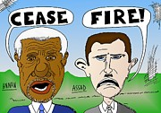 Unrest Drawings Posters - Annan Assad Cease Fire Cartoon Poster by Yasha Harari