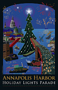 Holiday Framed Prints - Annapolis Holiday Lights Parade Framed Print by Joe Barsin