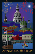 Holiday Framed Prints - Annapolis Holiday with title Framed Print by Joe Barsin