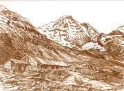 Sepia Ink Drawings - Annapurna Mountain Base Camp in Nepal Sep by Carol Wisniewski