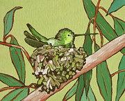 Bird On Tree Painting Prints - Annas Hummer Print by Sandy Tracey