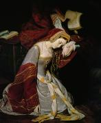 With Hands Paintings - Anne Boleyn in the Tower by Edouard Cibot