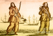 Buccaneer Framed Prints - Anne Bonny And Mary Read, 18th Century Framed Print by Photo Researchers