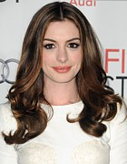Pink Lipstick Photo Framed Prints - Anne Hathaway At Arrivals For Afi Fest Framed Print by Everett
