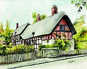 Stratford Paintings - Anne Hathaway Cottage England by Morgan Fitzsimons