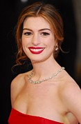 Updo Posters - Anne Hathaway Wearing Tiffany Jewelry Poster by Everett
