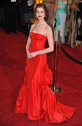 Satin Dress Metal Prints - Anne Hathaway Wearing Valentino Dress Metal Print by Everett