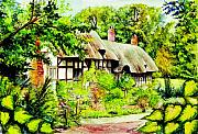 Warwickshire Posters - Anne Hathaways cottage  Poster by Morgan Fitzsimons