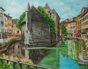 Village In France Posters - Annecy-The Venice Of France Poster by Charlotte Blanchard