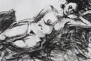 Nude Woman Charcoal Drawing Framed Prints - Annick Framed Print by Marc Lauwers