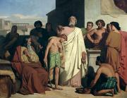 1842 Paintings - Annointing of David by Saul by Felix-Joseph Barrias